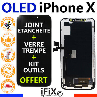 Ecran Lcd Iphone X Complet Qualité Oled Vitre Tactile + Joint + Triwing + Outils