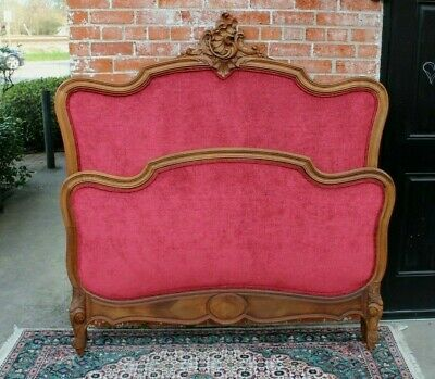 French Antique Carved Walnut Louis XV Upholstered Full Size Bed With Rails