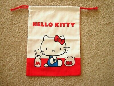 SANRIO My Hello Kitty Drawstring Bag Pouch Case Light with Gusset Bottom /'19 BLK