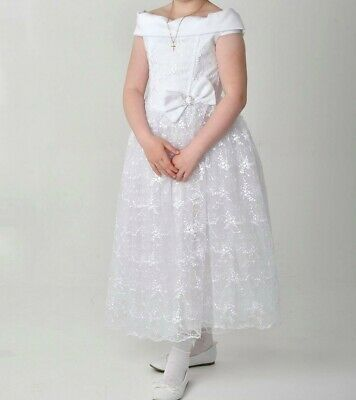 Custom made communion dress- satin white, age 8-9, worn only once