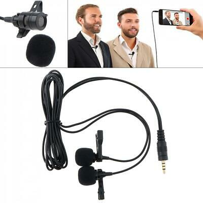 Clip-on Lapel Lavalier Dual Mic Microphone 3.5mm For Mobile Phone PC Recording