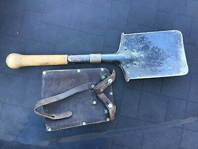 Vintage Swiss Military entrenching shovel with leather cover 1940