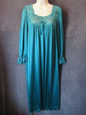 Vintage Vanity Fair Green Nylon Shimmer Lace Fancy Cuffs Long Nightgown L