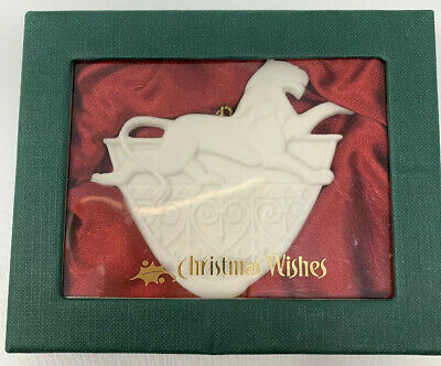 """Demdaco Christmas Wishes Porcelain Ornament """"Courage Strength of heart"""" NIB"""