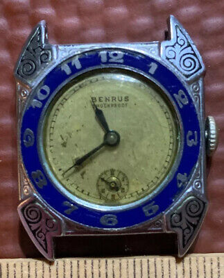 RARE! Antique Benrus 15 Jewel Art Deco Airman Mens Wrist Watch AS-IS NOT WORKING