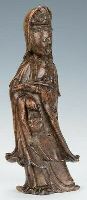 Old Chinese Guanyin figure statue idol carved brown stone 16in tall 12lbs Buddha