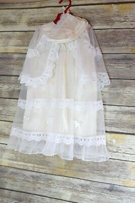 Vintage Baby Christening Gown/Dress With Cape and Bonnet Lace Details