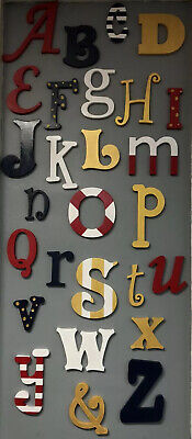 Nautical Painted Wooden Alphabet Letters Nursery Classroom