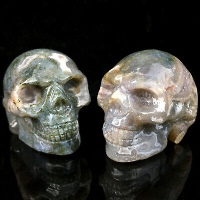 "2"" Natural Aquatic agate Quartz Crystal Skull Carved Skull Reiki Healing 1pc"
