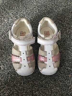 Clarks Girls Pink White Silver T Bar Leather Summer Sandals UK Size Infant 6.5 F