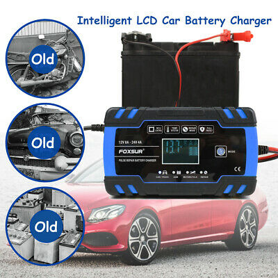 Automatic Intelligent Car Battery Charger Touch Screen 12/24V LCD Pulse Repair