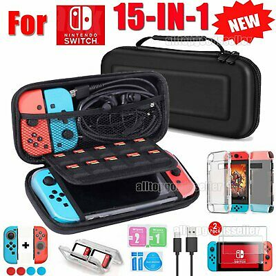 For Nintendo Switch/Lite Travel Case Bag+ Glass Protectors + Cable + Accessories