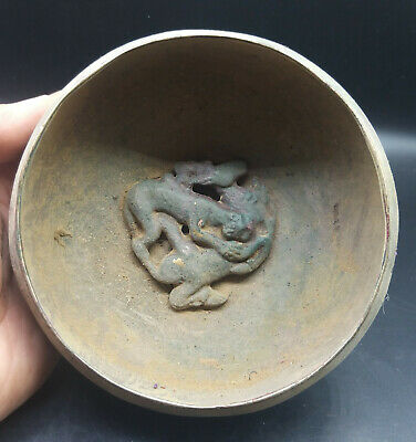 Very Old Rare Ancinet Roman Bronze Bowl Cheeta Hunting Deer History Antique Bowl