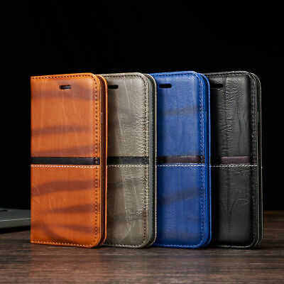 For iPhone 7 6s 8 5 X Vintage Leather Magnetic Flip Case Wallet Stand Slim Cover