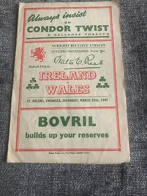Rare Rugby Union Match Programme - Ireland V Wales - March 1947