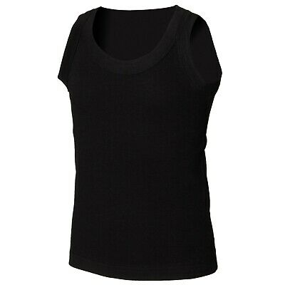 SF Minni SM016 Kids tank vest Blank Plain shirt SM016 BLACK 10-12