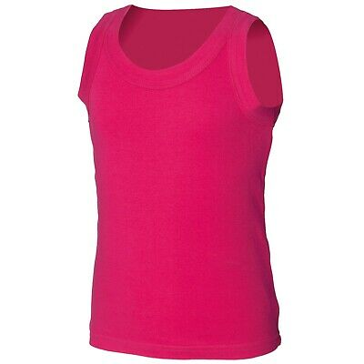 SF Minni SM016 Kids tank vest Blank Plain shirt SM016 HOT PINK 10-12