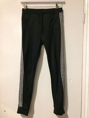 Marks & Spencer Boys Black Joggers Jogging Bottoms Age 9-10 Years Stripe VGC