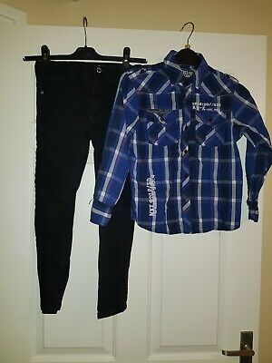 Bundle Boys Long Sleeve Blue White Shirt and Black Skinny Jeans - Age 8