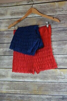 Vintage 7 Layer Tiered Pettipants Bloomers Red and Blue L/XL Two pairs