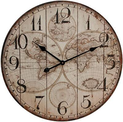 Large Round Wall Clock Wooden Panel Vintage World Map Pattern 60cm Arabic Dial