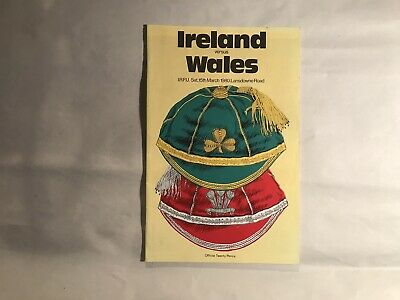 Ireland v Wales 1980 Rugby Union Programme