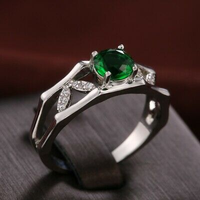 Fashion 925 Silver Rings Women Emerald Wedding Engagement Ring Jewelry Size 9