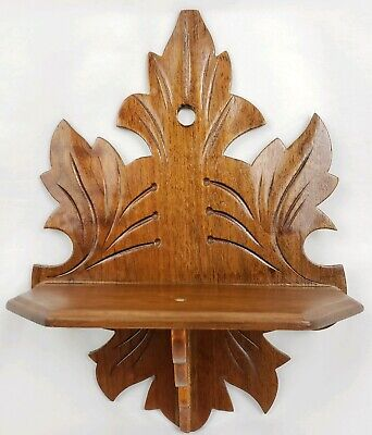 Vintage Maple Leaf Wooden Shelf Curio Display Handmade Antique Walnut Wood 11""