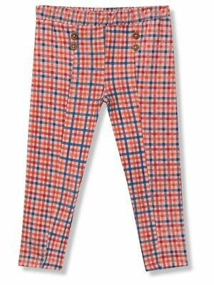 Check Trousers/Leggings (Blue, Pink, Orange, Red) with wooden button detail 3-4