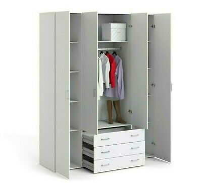 Space White Double or Triple Wardrobe with or without Drawers Four Models