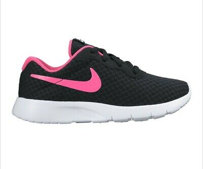 Nike Girls Tanjun Trainers Black Pink Size 2 Running Shoes New Boots Lightweight