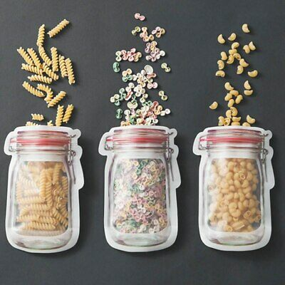 Mason Jar Shaped Food Container Kitchen Storage Bottle Zippers Snacks Clear Bag