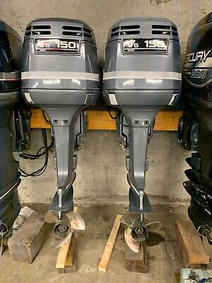 "Pair 1999 Yamaha 150 hp OX66 2-Stroke 25"" Dual Twin Outboard Motors V6 Controls"