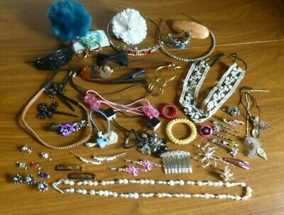 Large mix Job lot bundle of modern & Vintage Hair accessories pins bands etc