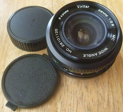 VIVITAR KOMINE 28mm 1:2.8 MC WIDE ANGLE lens Pentax K mount - comes with caps