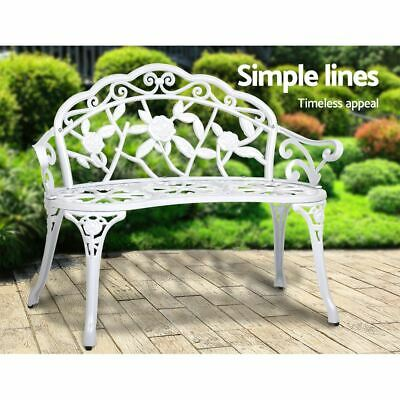 Rust Resistant Garden Bench Park Backyard Furniture Outdoor Seat Cast Iron White