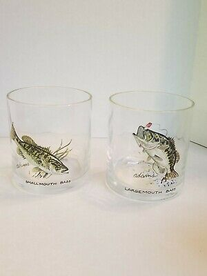Large Mouth Bass Small Mouth Bass Adams Drinking Glasses Set of 2 rocks bar