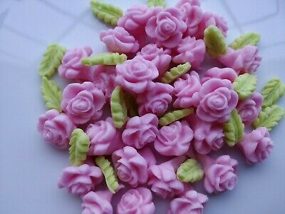 Cake decoration Edible Sugar  small pink roses and leaves  (60 items per set)