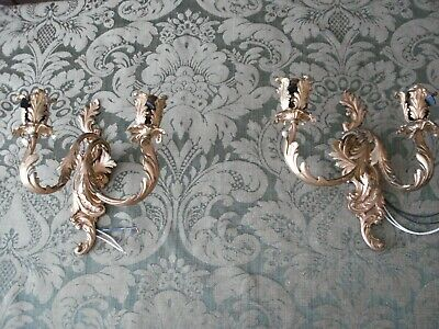 Large Pair of Antique French Rococo Gold Gilt Dore Bronze Candle Wall Sconces