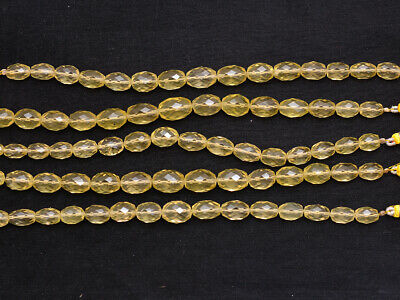 One Strand Natural Lemon Quartz Oval Nugget Faceted Gemstone Bead8''7x10-10x14MM