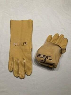 USN BuAer Yellow Leather Pilot's Gloves