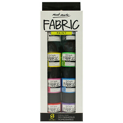 Fabric paint set/8 20ml Textile Permanent DIY Colour Art Craft Bright Mont Marte
