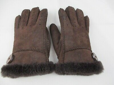 UGG Bailey Women's Sheepskin BROWN Leather / Suede Gloves SIZE Med Pre-Owned