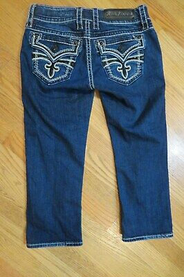 ROCK REVIVAL WOMENS JAYLYN CAPRI JEANS DISTRUCTED EMBELLISHED SEQUIN SIZE 28 NEW