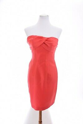 NWOT Boden 100% Silk Ruched Strapless Bow Dress Mini Twisted Pink Sz 8 Medium
