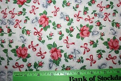 """Lovely 1940s Vintage Sewn Feedsack 36""""x22""""  ROSES Bows Butterflies Pink Green"""