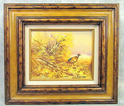 Landscape Original Oil Painting On Board Pheasant Signed B.rowan,Framed Matted