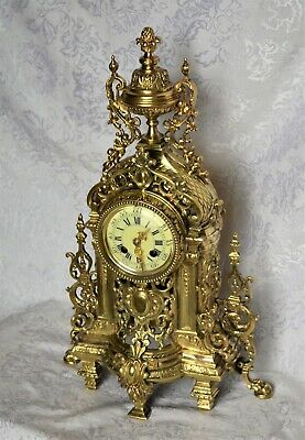 Antique French Japy Freres Brass Mantel Clock. Serviced