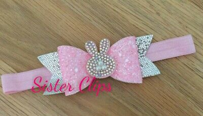 Baby Girls glitter cute bling sparkling easter bunny bow Soft Elastic headband