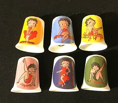 6 Collectable Betty Boop Porcelain Thimbles- Stock-On-Trent England- Thimbles